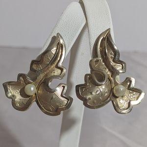Vintage Gold & Faux Pearl Leaf Screw Back Earrings
